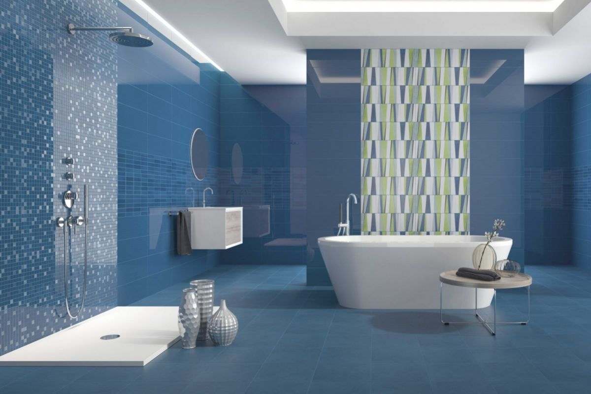 Modele salle de douche blanc et bleu meilleures images d for Carrelage bleu pour salle de bain