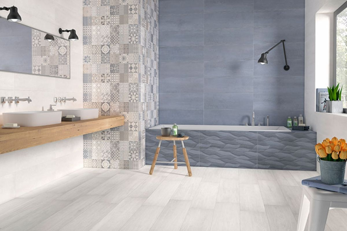 Salle de bain carreaux de ciment maison moderne for Les modeles des maisons modernes